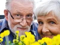An elderly Scandinavian smiling couple Sweden close-up.